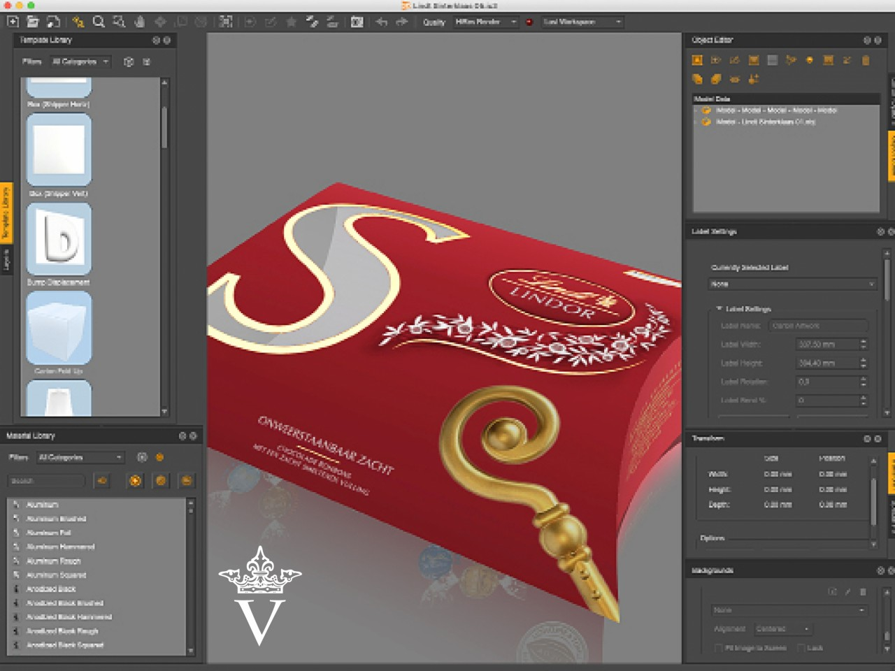 Lindt vouwkartonnage - 3D digitale mock-up in de maak