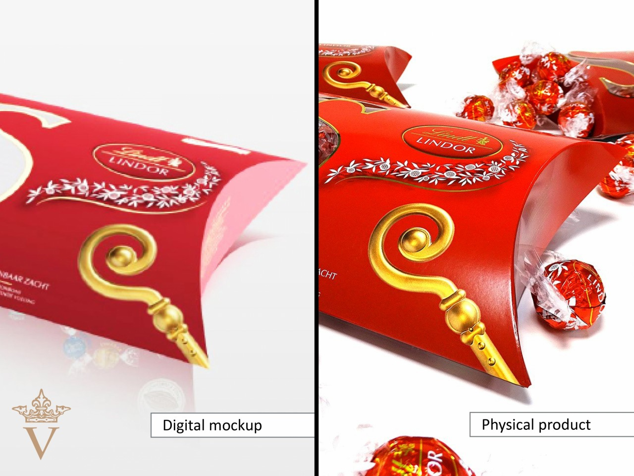 Lindt vouwkartonnage - 3D digitale mock-up vs. een fysiek prototype